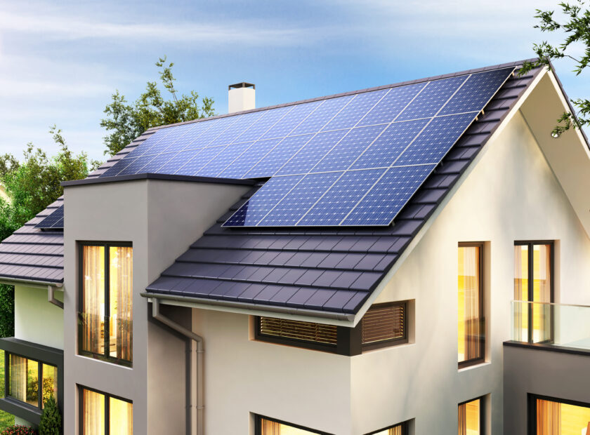 Solar,Panels,On,The,Roof,Of,The,Modern,House.,3d